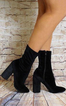 667fb4bae Black Velvet Sock Pull On Stretch Ankle Boost High Heels | SilkFred ...