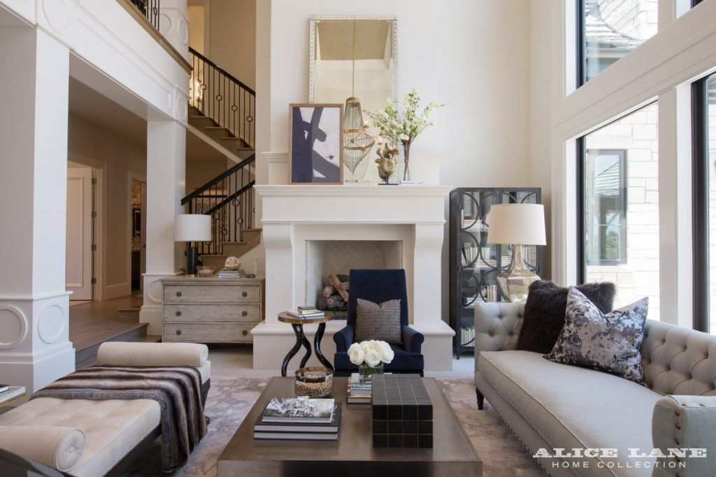 Gorgeous Living Room With Tall Ceiling And Big Open Windows