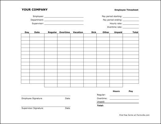 Printable Time Sheet Free Biweekly Timesheet Landscape From