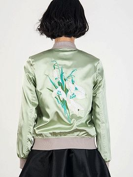 Army Green Frill Detail Contrast Embroidery Back Bomber Jacket