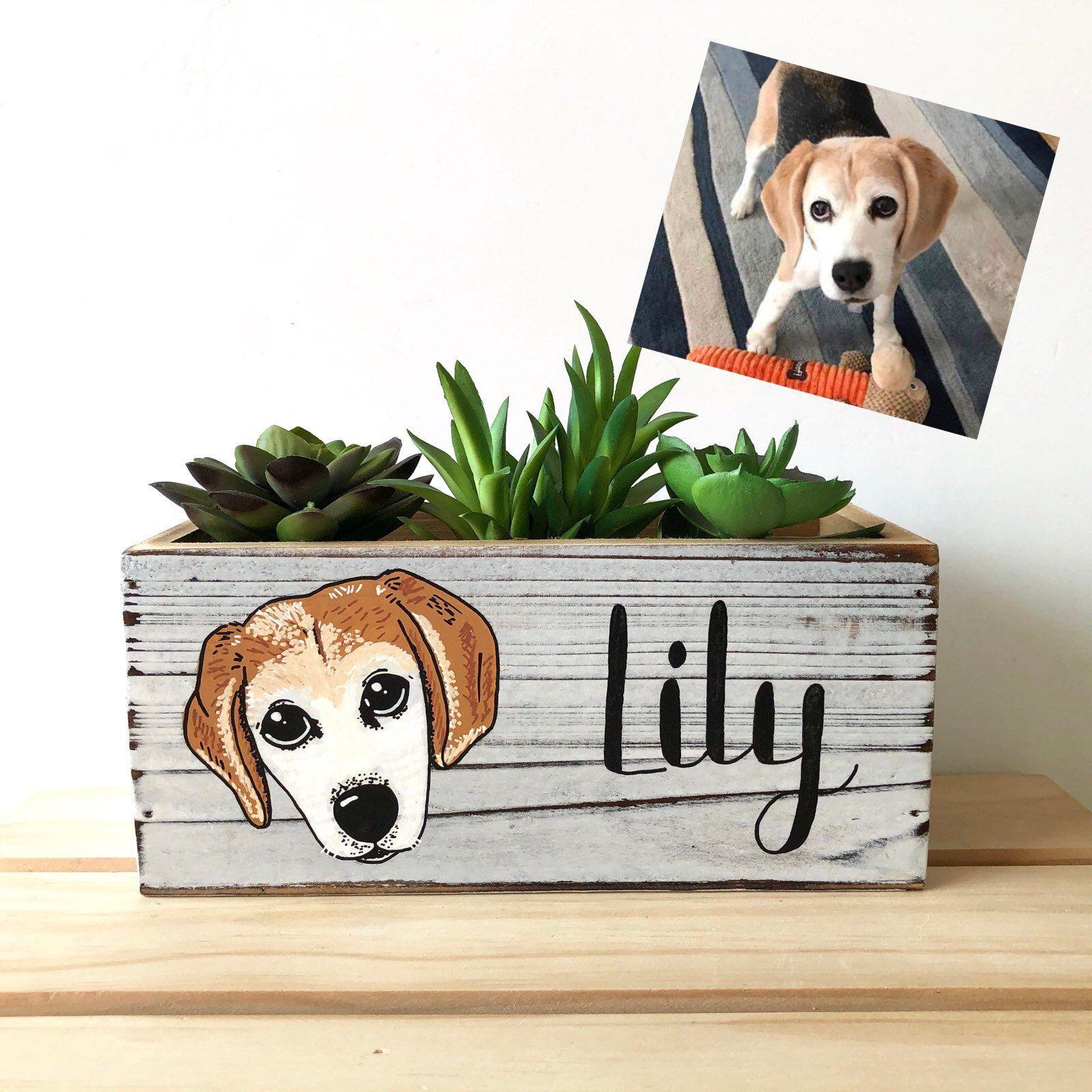 Dog planter personalized pet gift custom pet portrait