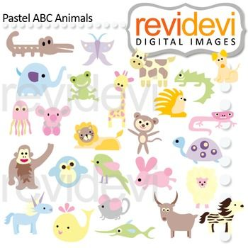 Animal Alphabet Clip Art Pastel Abc Animals Clipart Animal Clipart Animal Alphabet Kids Graphics
