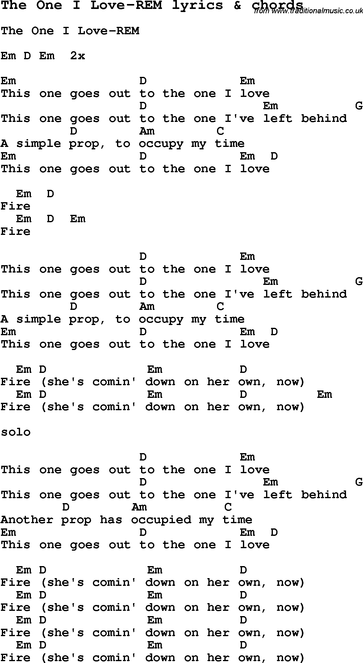 Love song lyrics for the one i love rem with chords for ukulele love song lyrics for the one i love rem with chords for ukulele hexwebz Image collections