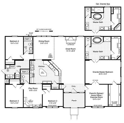 The Hacienda Ii 2580 Sq Ft Manufactured Home Floor Plans In Midland Mcstatedesc Modular Home Floor Plans Manufactured Homes Floor Plans Modular Home Plans