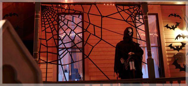 Giant tape spiderweb Halloween Pinterest Big, Spider webs and - spider web halloween decoration