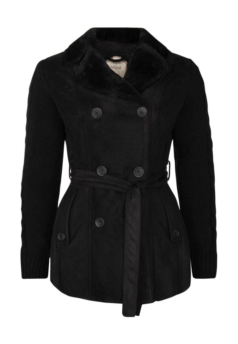 Taillierter mantel schwarz damen