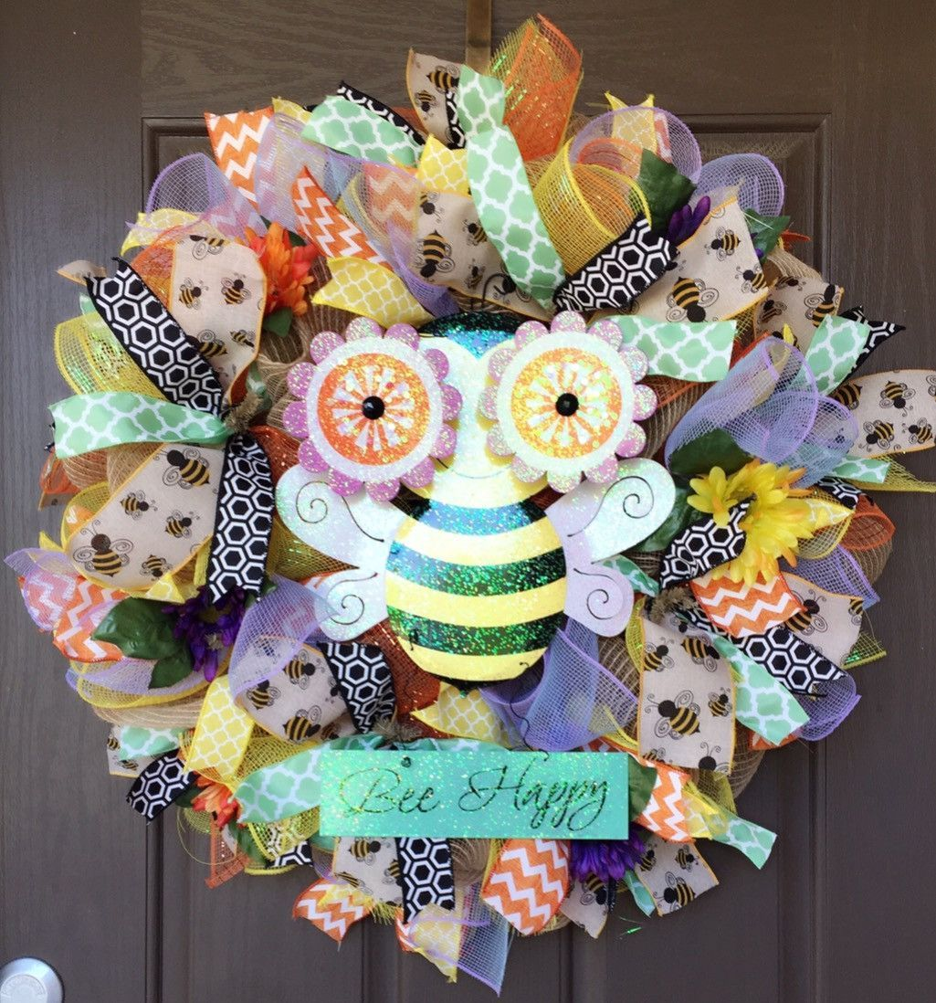 Bee Wreath-Summer Wreath-Destined with Creativity