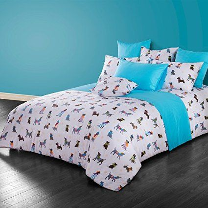 Cliab Dog Print Bedding Full 100% Cotton Duvet Cover Set 4 Pieces