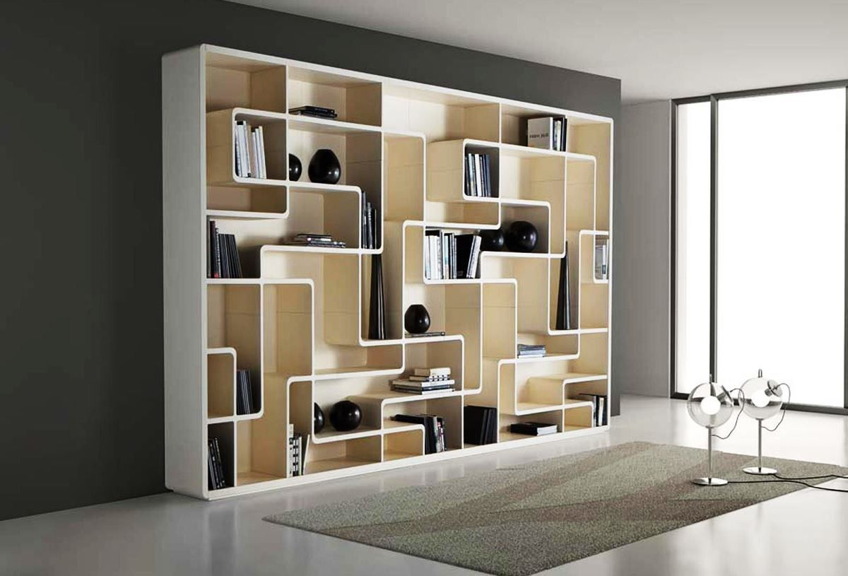 Charming White Wooden Bookshelf Design With Beautiful Curvy Labyrinth  Shelving Inside The Rectangle Unit