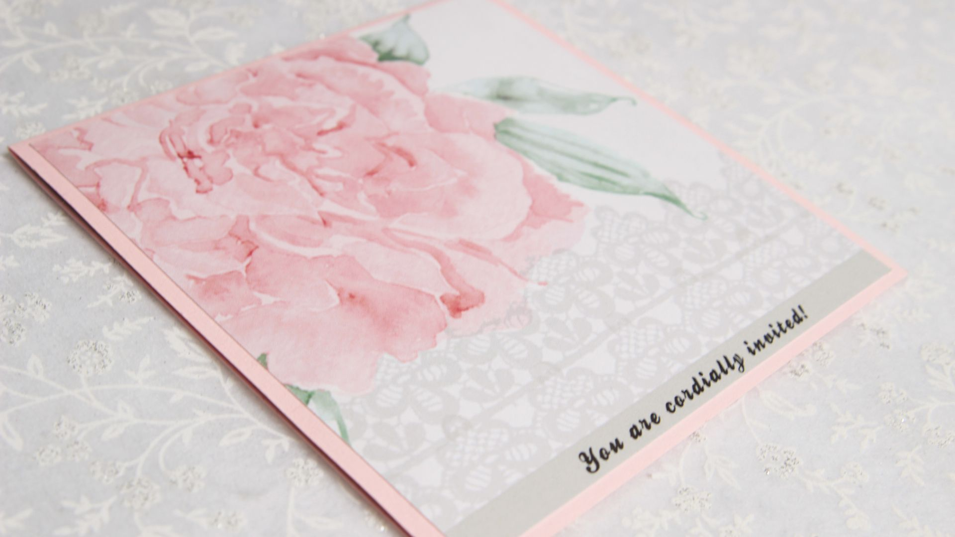 single card invite with pink rose