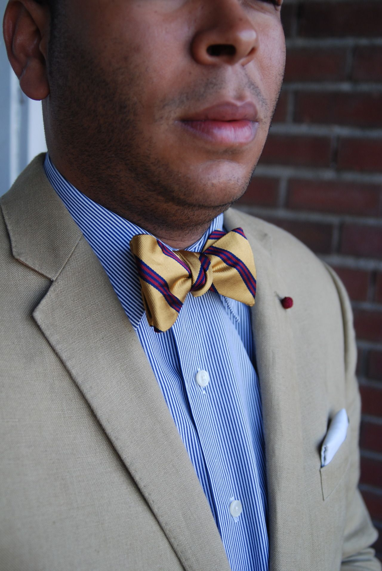 Tan jacket, white shirt with blue stripes, gold bow tie ...