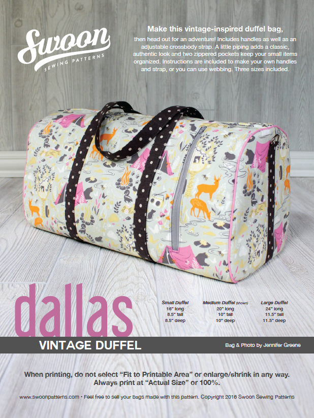 Dallas Vintage Duffel | Swoon Sewing Patterns | Pinterest | Sewing ...