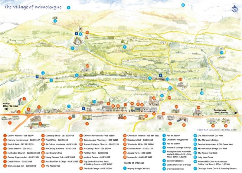 Drimoleague walkways travel and tourist map guide watercolour final drimoleague walkways travel and tourist map guide watercolour gumiabroncs Choice Image
