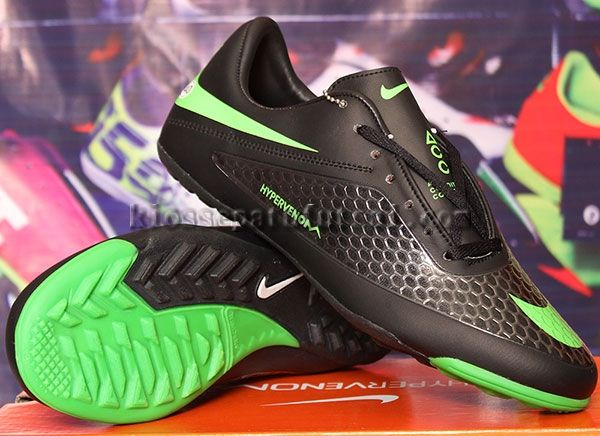 Sepatu Futsal Nike Hypervenom Hitam Strip Hijau Gerigi Kw Super