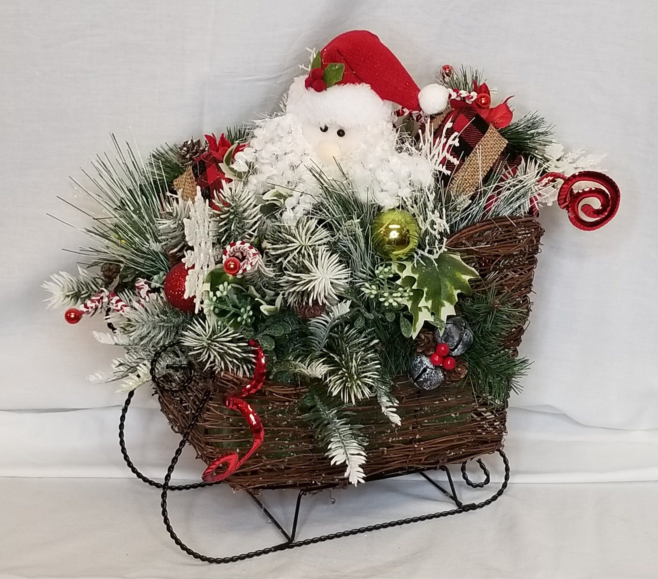 santa sleigh centerpiece christmas sleigh centerpiece rustic farmhouse christmas decor christmas arrangement