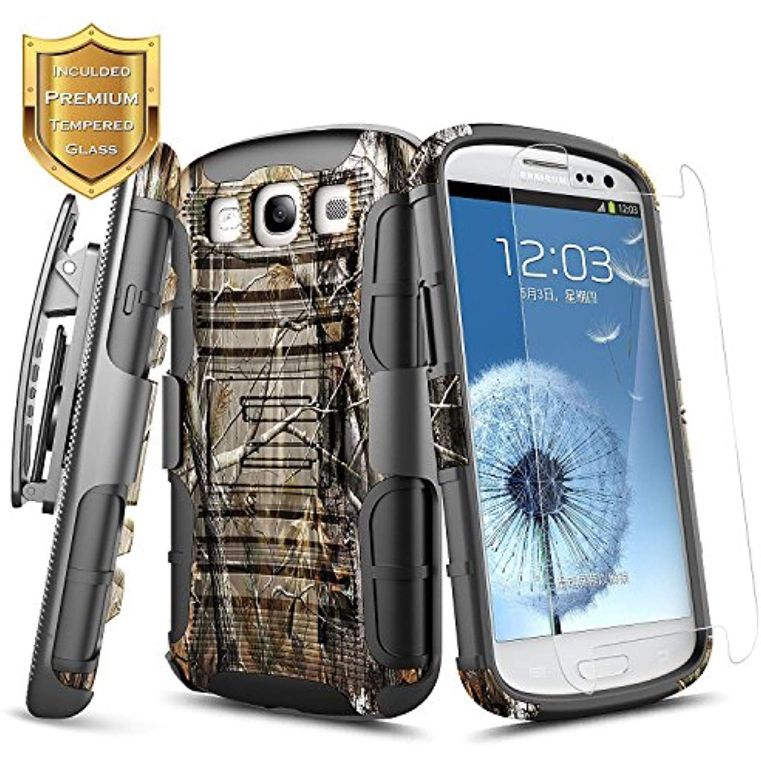 best service afbea 8979b Galaxy S3 Case w/ [Tempered Glass Screen Protector], NageBee [Heavy ...