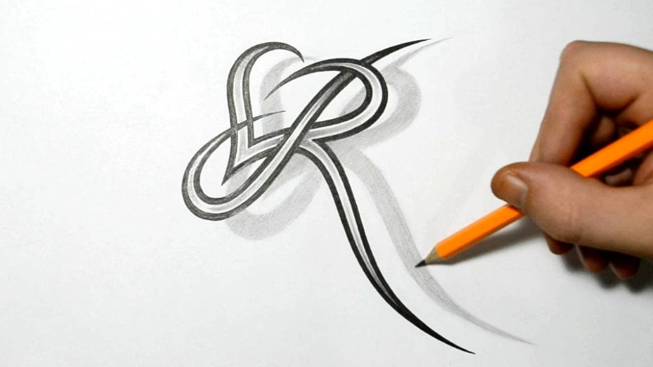 letter r and heart combined tattoo design ideas for initials