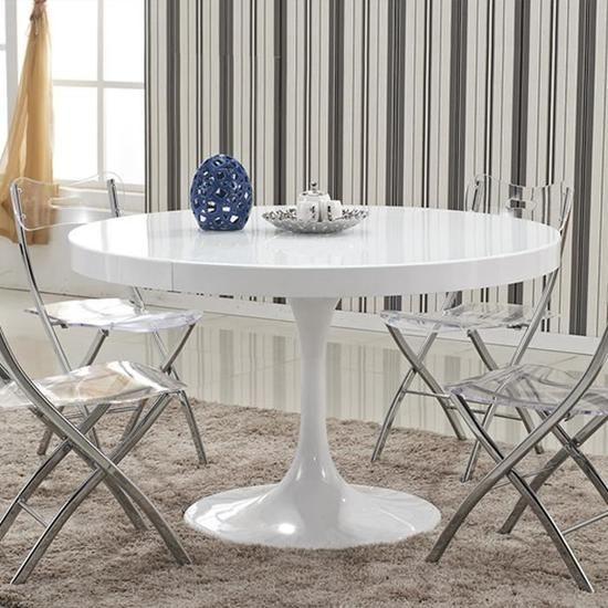 Table à manger ronde design Isola blanche pas cher - Table à ...