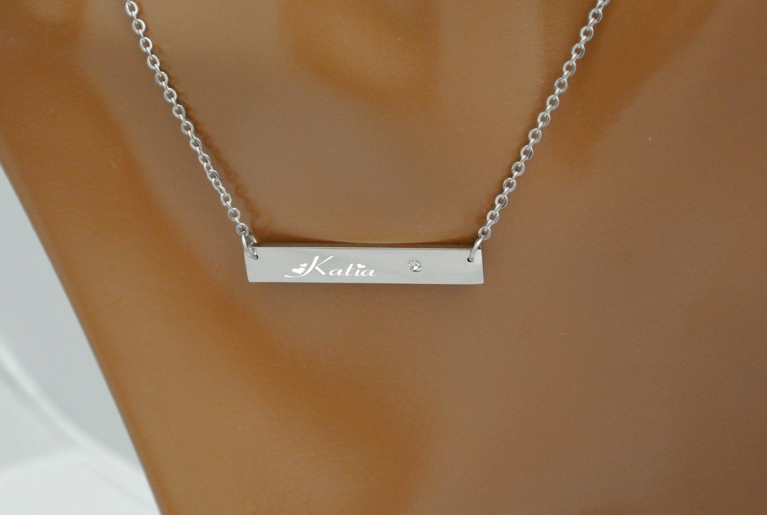 Engraved Bar Necklace, Coordinates Necklace, Silver Horizontal Bar Necklace, Bridesmaids Gifts, Personalized Necklaces, Valentine's Day Gift