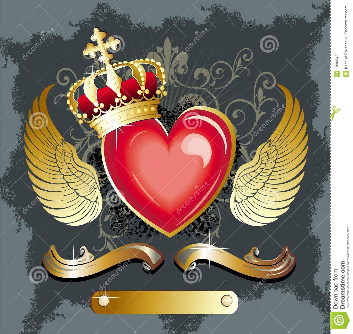 Heart crown wing tattoo more similar stock images of for Gold ribbon tattoos
