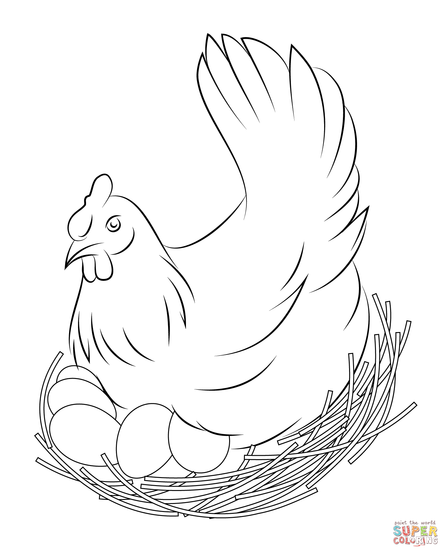 Line Drawing Chicken : Chicken coloring pages free