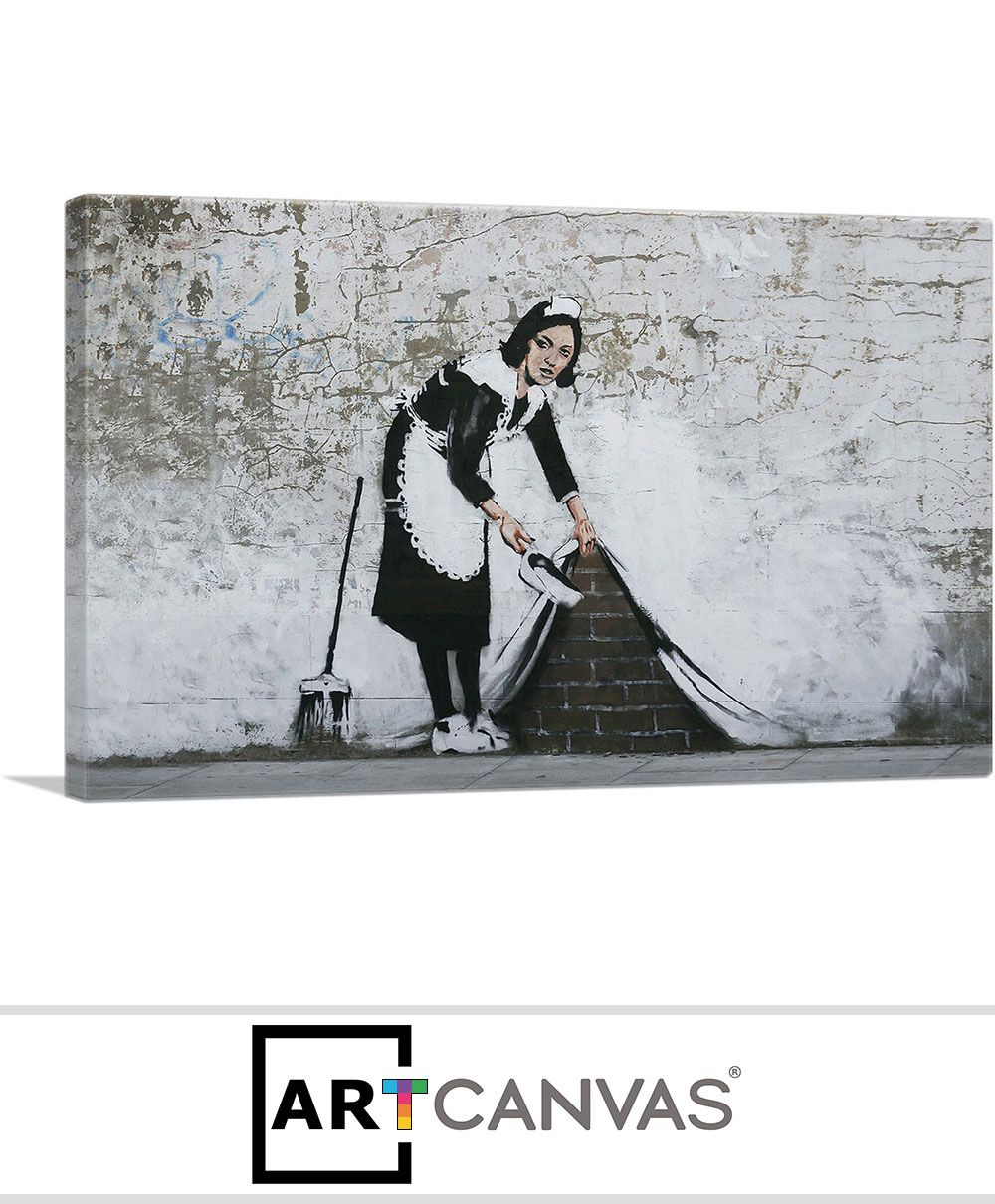 Banksy Canvas Art Maid In London Canvas Art Print For Sale Artcanvas Banksy