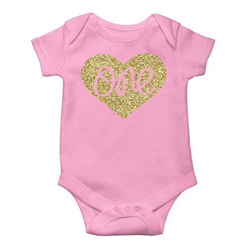 a4a36cef63e Baby Girls First Birthday Bodysuit Sparkly Gold One Inside Heart Design 1st  Birthday Outfit Girl