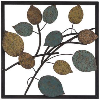 Blue U0026 Yellow Metal Leaf Wall Decor