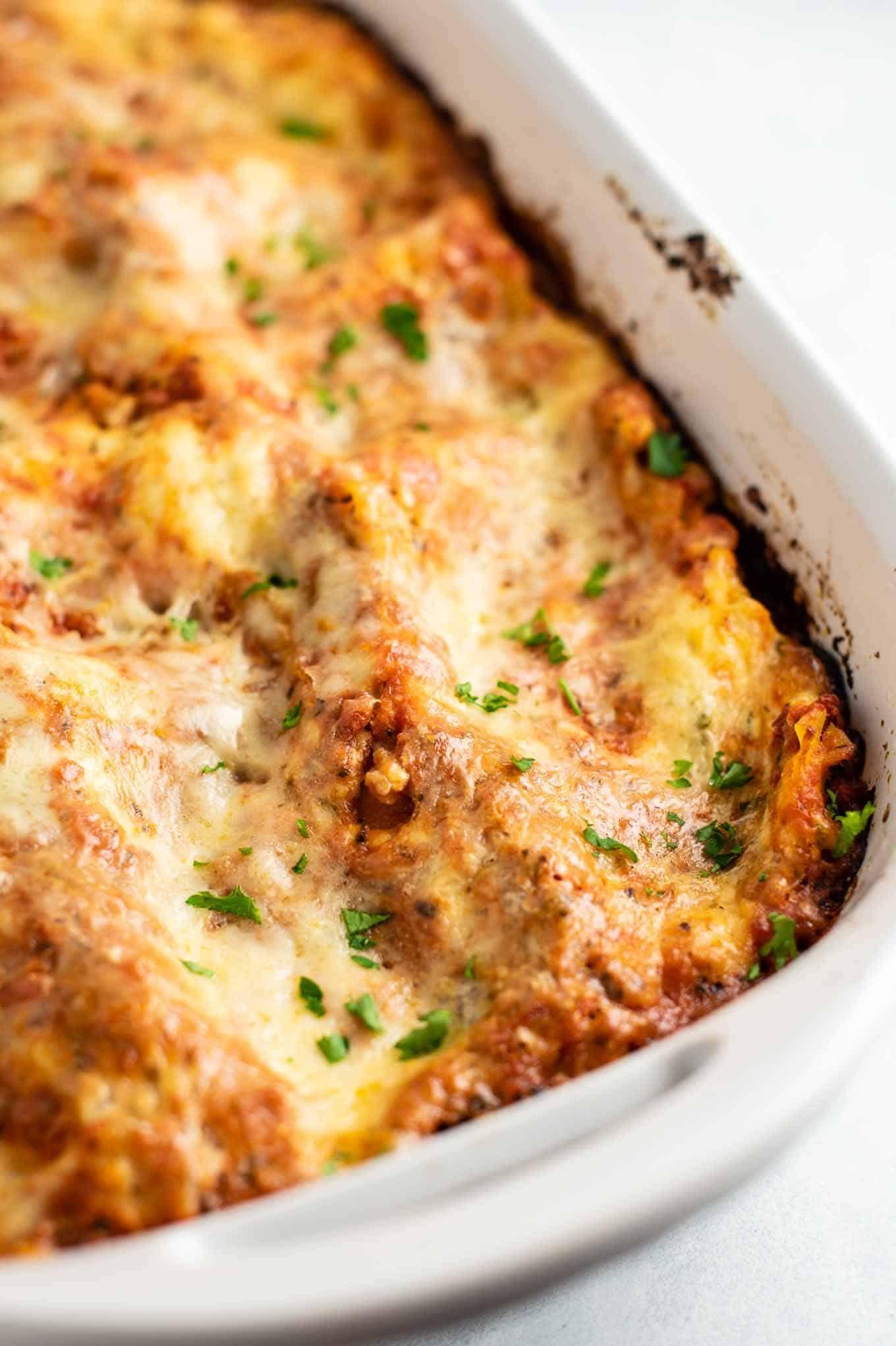 Easy 3 cheese lasagna recipe with mozzarella parmesan