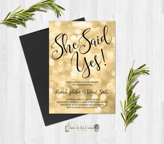 Celebrity Wedding Invites: Gold And Black Engagment Party Invitation Elegant And