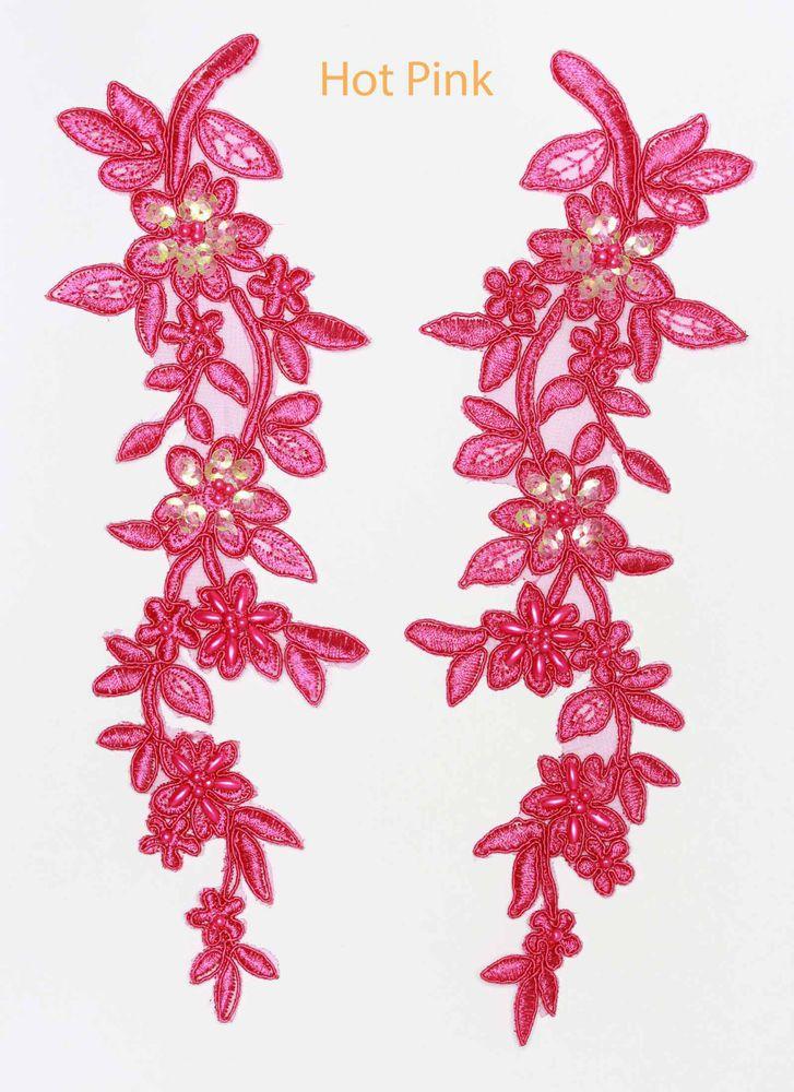 2 X  Embroidered Venise Lace Sequins /& beaded Applique Trim Motif  Pink # 1