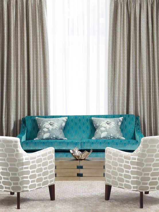 Teal and silver living room