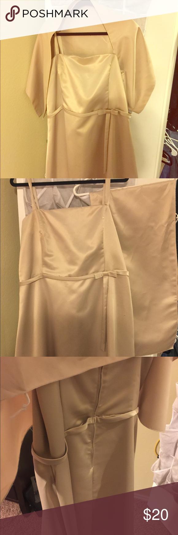 e16527672192 Tan Semi Formal dress with Shaw Tan Knee length dress beautiful for Special  evening. Smoke free