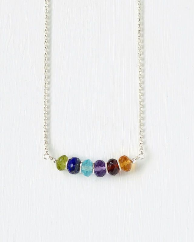 Sterling Silver Grandma Necklace with Family Birthstones - 18 Inch.  Personalized mothers jewelry by Blue Room Gems.
