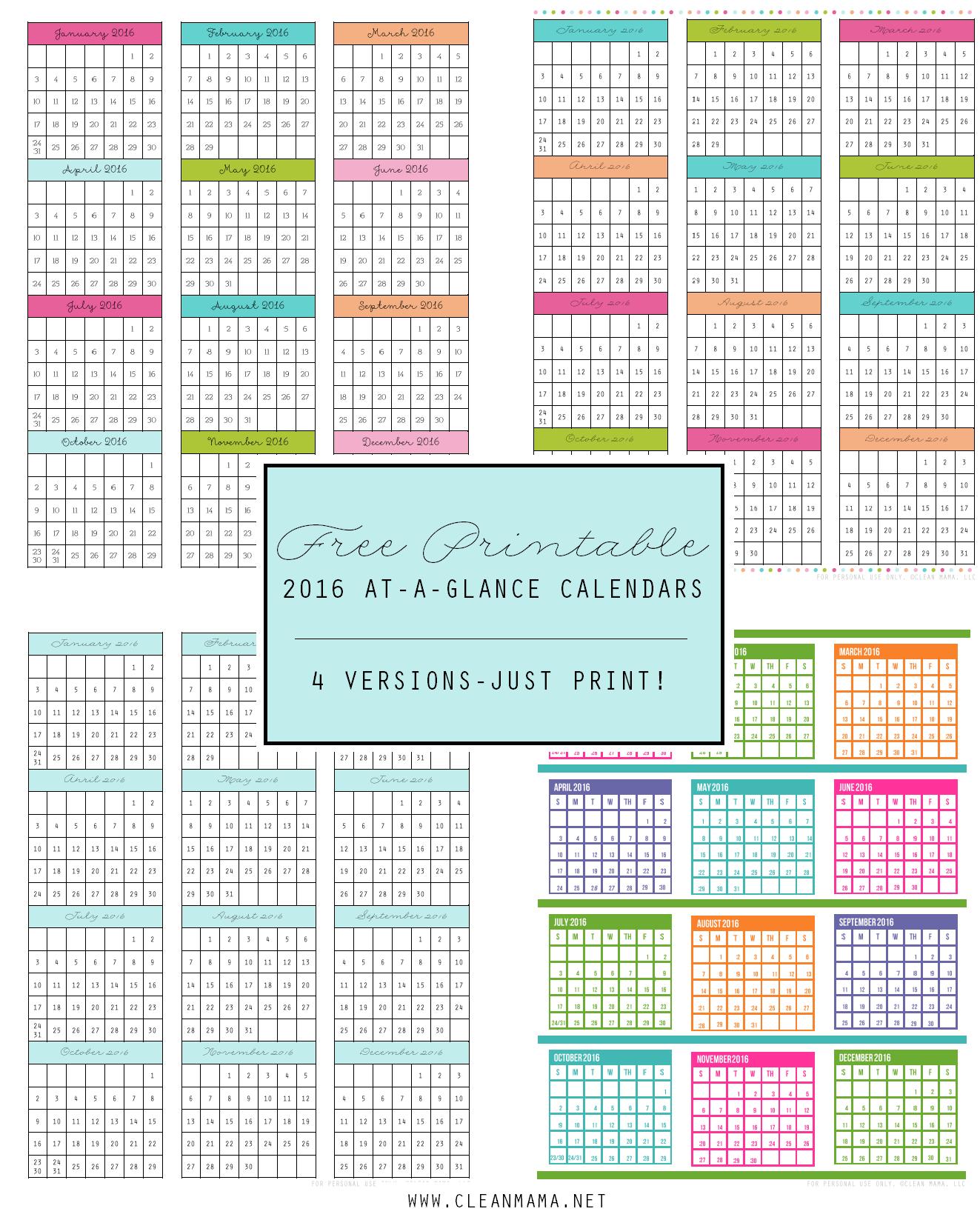 FREE 2016 At-A-Glance Calendars