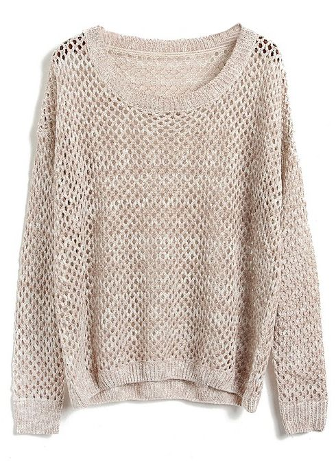 Apricot Batwing Long Sleeve Hollow Kint Sweater | My style <3 ...