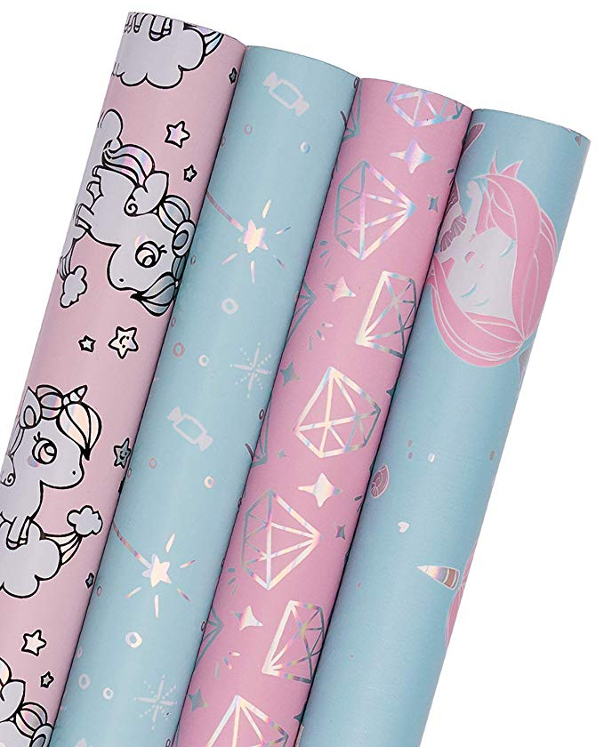 Amazon Com Wrapaholic Gift Wrapping Paper Roll Mermaid Unicorn Fairy Stick And Diamo Pink Wrapping Paper Gift Wrapping Paper Christmas Gift Wrapping Paper