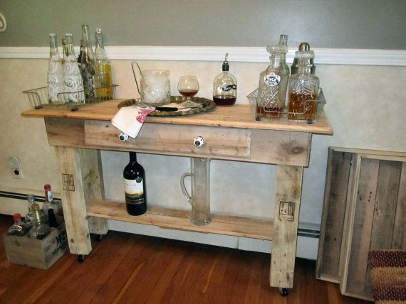 Perfect Bar Cart, Buffet Table, Occasional Table, Reclaimed Wood Table, With Wheels,