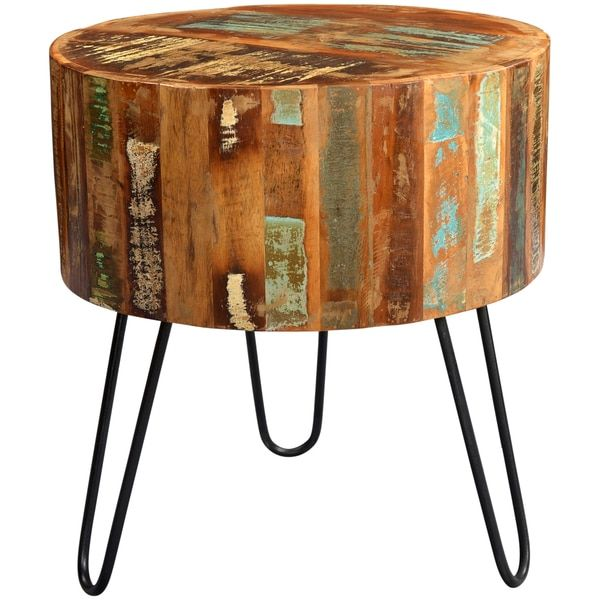 Furniture Legs India handmade wanderloot tulsa round reclaimed wood end table with
