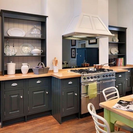 Green Kitchen Units Uk: Updated Country Kitchen. Here, A Well-thought-out Layout And Striking Combination Of Dark Green