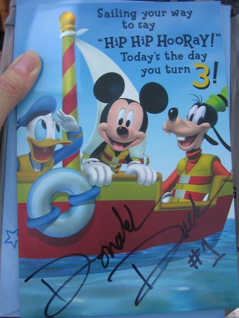 Third birthday card signed by Donald Duck in Walt Disney