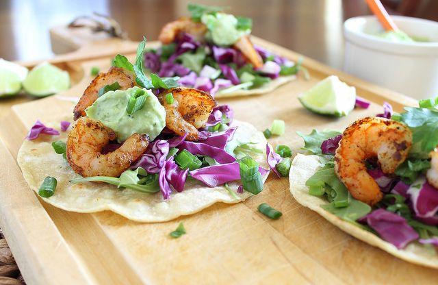 Spicy shrimp tostadas with jalapeno avocado sauce