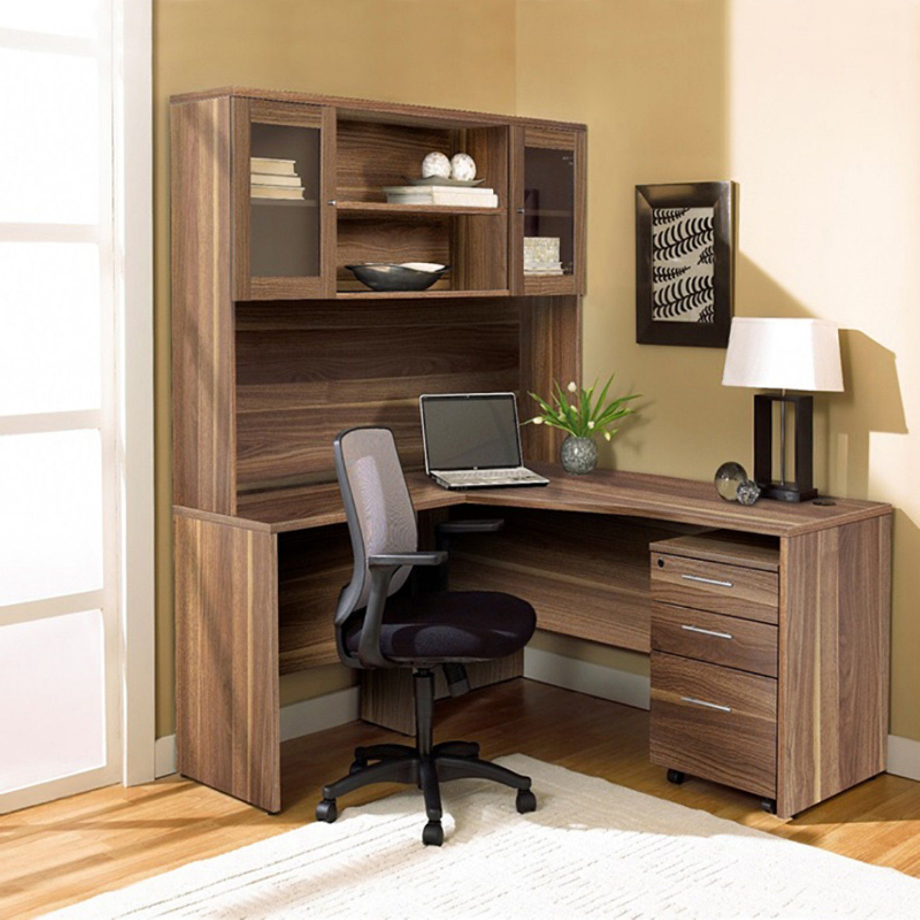 Unique Furniture 100 Collection Corner L Shaped Desk With Hutch And