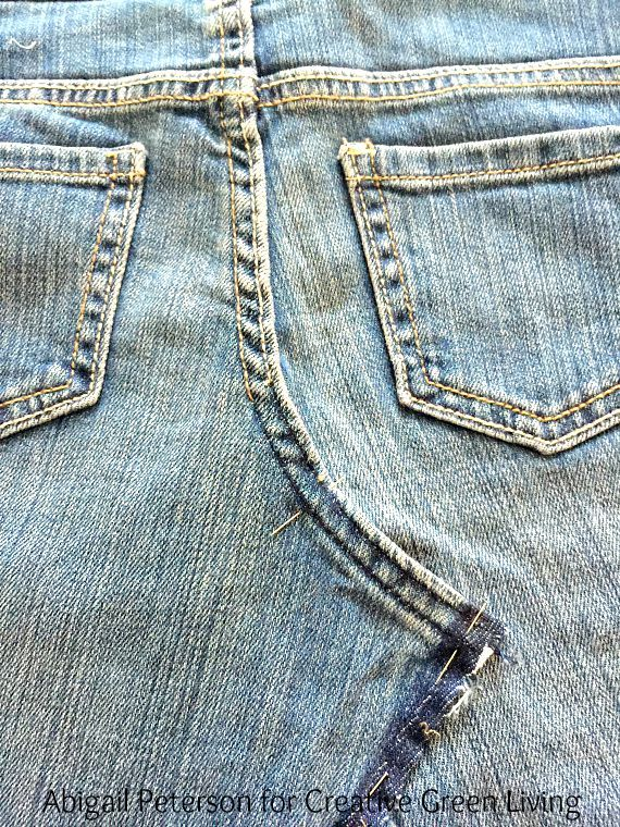 d9dd14ee3 Learn how to turn an old pair of jeans into an adorable skirt! This same  technique works for girls or women of any size.