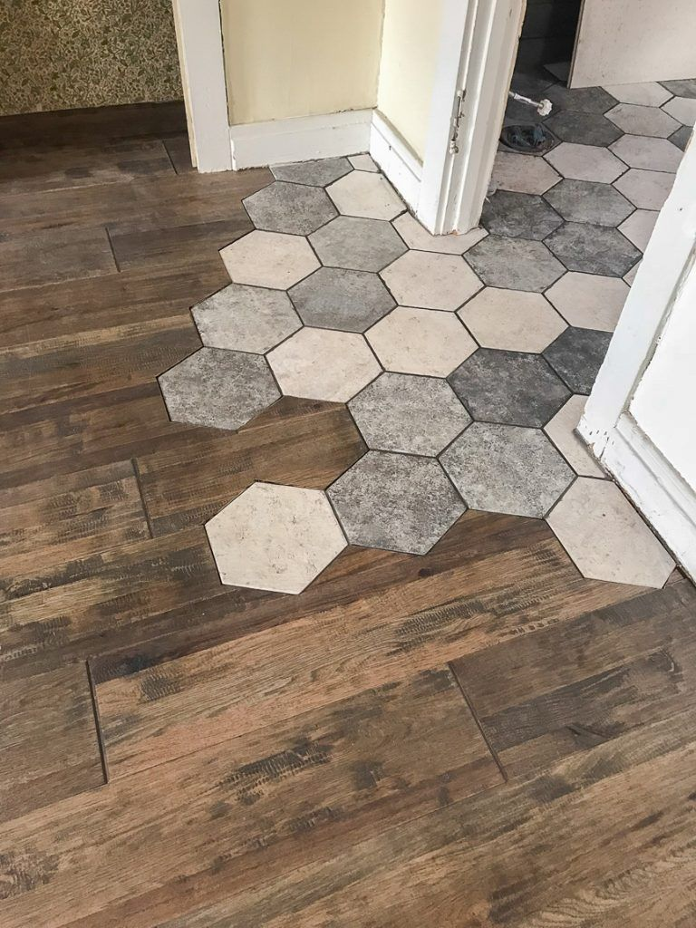 Flowing Tile To Hardwood Transition Diy Show Off Diy Decorating And Home Improvement Blog Flooring Floor Design Hexagon Tiles