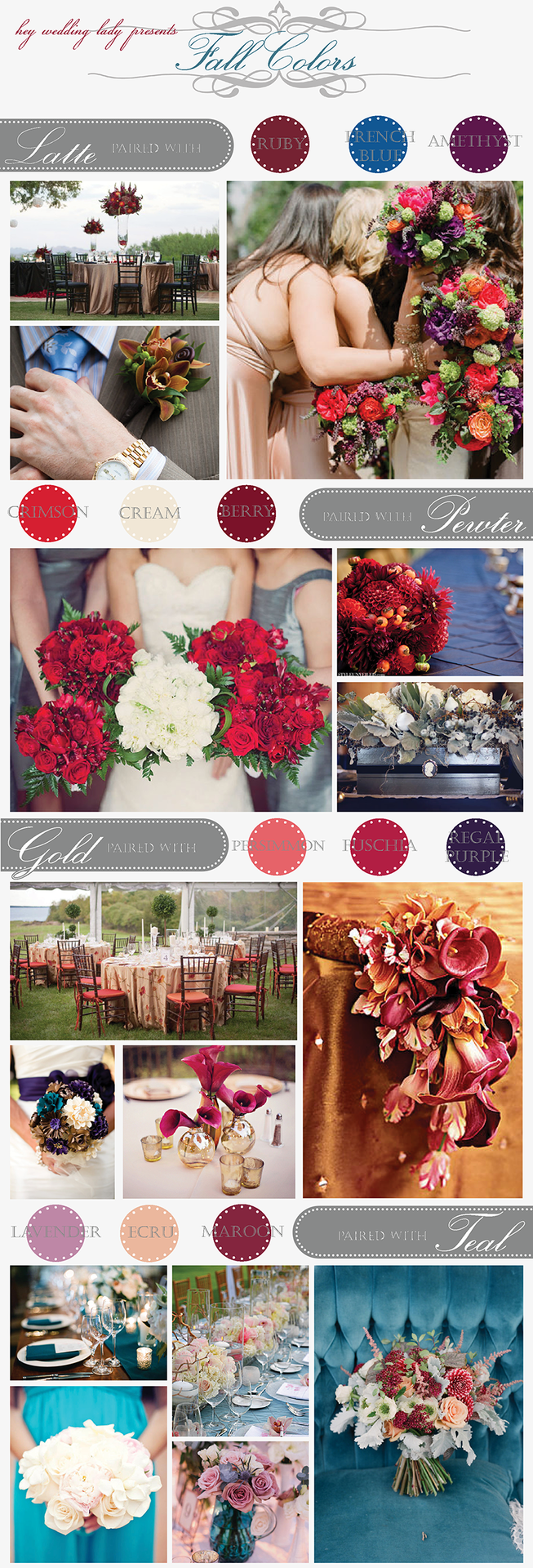 Maroon and cream wedding decor  Harvest Hues u Unexpected Color Pairings for Autumn Weddings