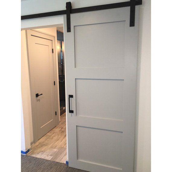 3 Panel Design Painted Sliding Barn Door With Images Barn Doors Sliding Sliding Barn Door Hardware Barn Door Closet