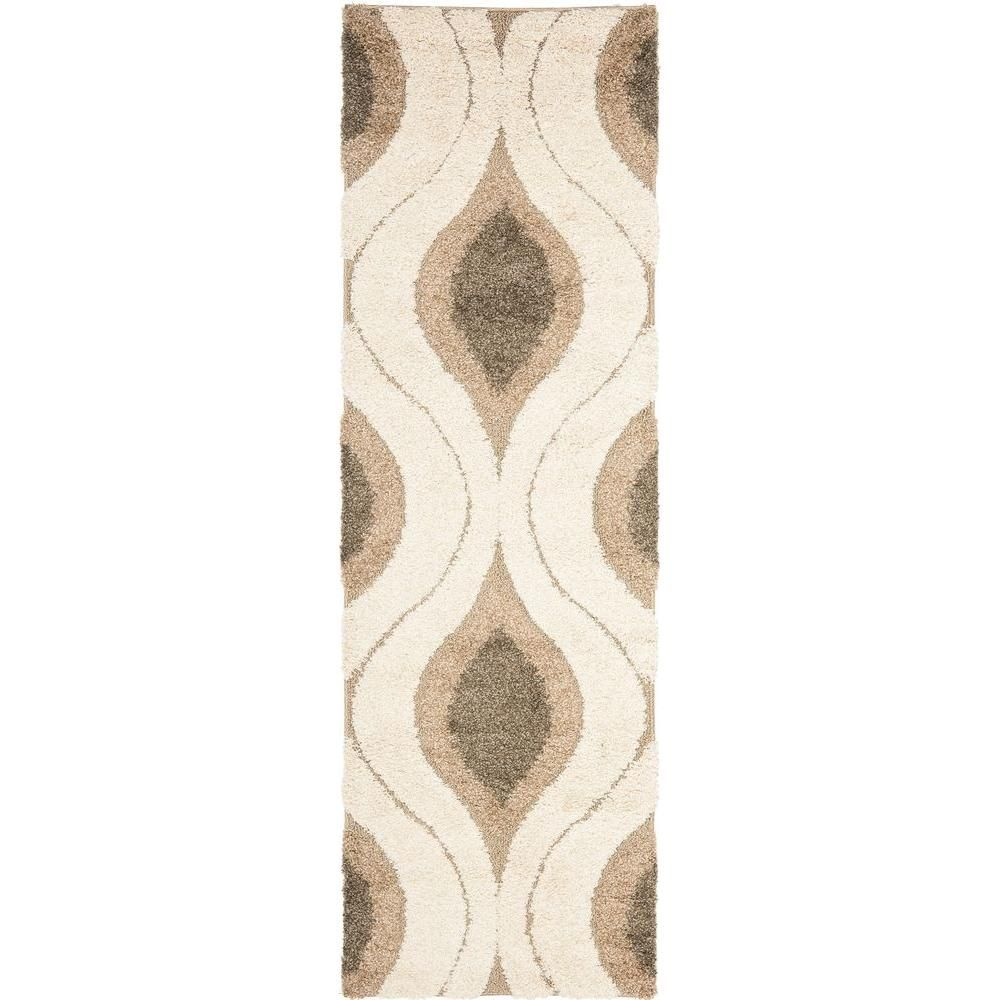 Safavieh Florida Shag Cream Smoke 2 Ft X 11 Ft Runner Rug Sg461