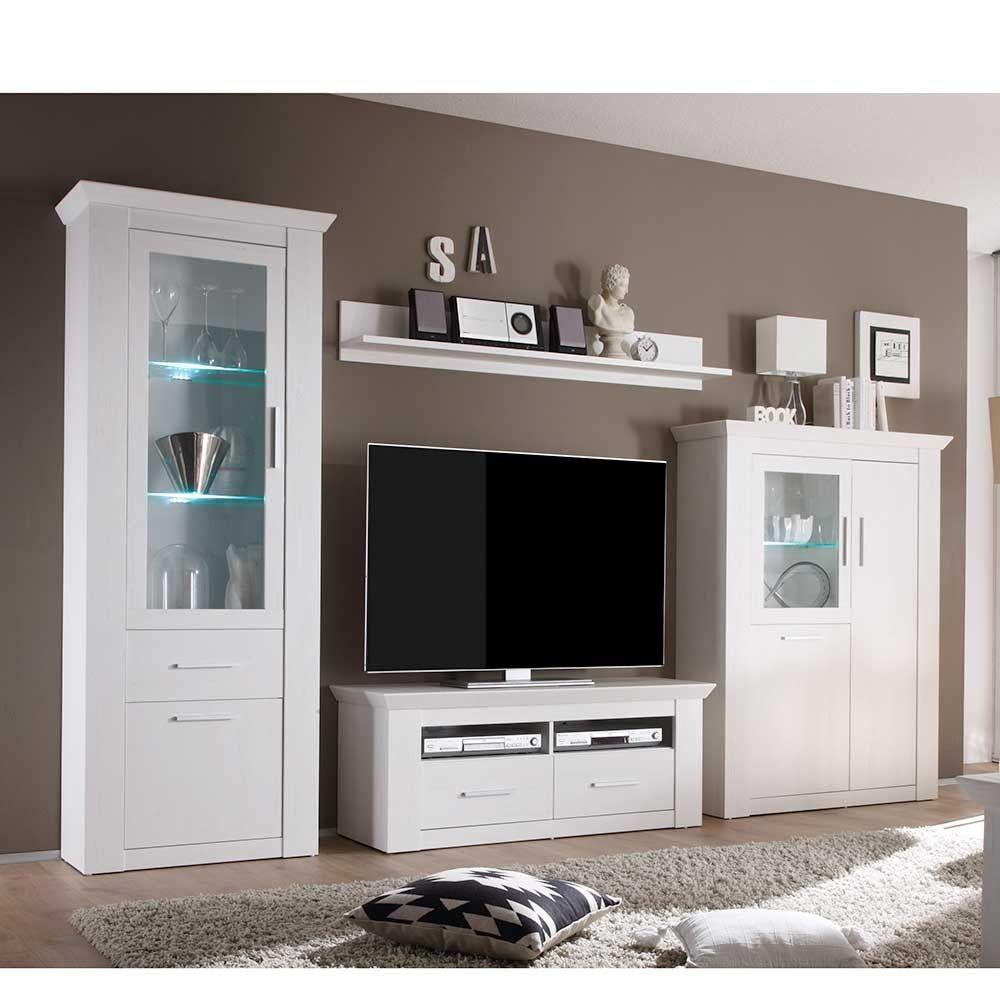 Wohnzimmer Anbauwand Troyes In Weiss Anbauwand Wohnen Weisse Mobel