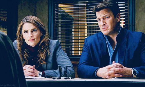 Beckett and Castle interrogating a suspect.